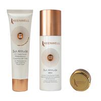 CC мультизащитный крем SPF 50 с тональным эффектом + Увлажняющая эмульсия-спрей после загара + бальзам для губ в подарок / Keenwell Crema CC Facial SPF 50 + After Sun