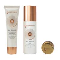 CC мультизащитный крем SPF 50 с тональным эффектом + Мультизащитная вода для загара с SPF 15 + бальзам для губ в подарок / Keenwell Crema CC Facial SPF 50 + Agua Solar SPF 15