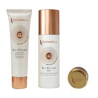 Мультиактивный солнцезащитный крем для лица SPF 50 + Мультизащитный спрей-флюид для тела  SPF 30 + бальзам для губ в подарок / Keenwell Crema Facial SPF 50 + Emulsión Fluida SPF 50